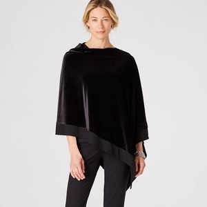 J. Jill -  Luxurious Black Velvet Poncho - NWT